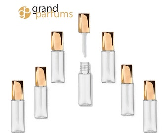 3 Lip Gloss 1.2ml Tubes w/ Metallic GOLD Wand Tops Sampling Favors Private Label Cosmetic Packaging Lipstick Balm Soft flocked Tip PVC