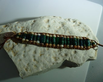 Aztec Green gemstone cuff bracelet