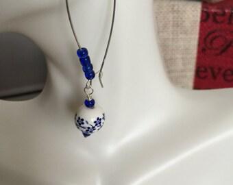 Sterling silver ceramic porcelain earrings