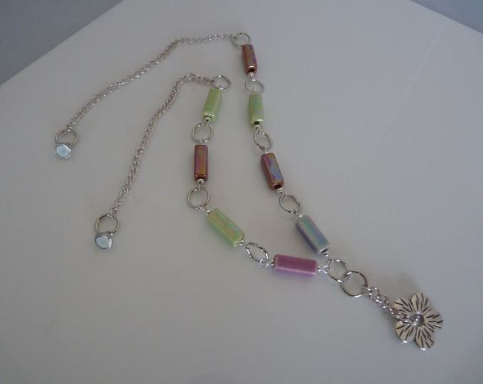 Flower Rectangle tube beads necklace