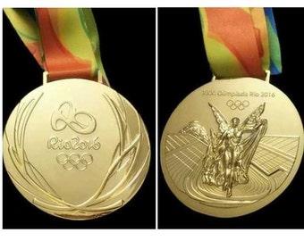 Rio 2016 Olympic 'Gold' Medal & Ribbon