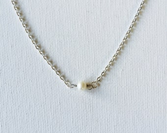 White Freshwater Pearl Silver Floating Necklace