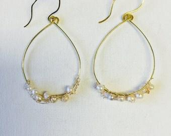 Gold Wire Crochet Pearl Hoop Earrings