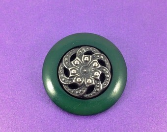 Vintage Pewter Button, Bakelite Button, Green Button, Circa 1930