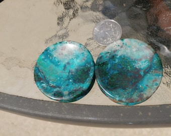 43mm(1 11/16) Chrysocolla in Malachite concave plugs