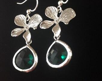 Emerald Earrings, Dainty Fine Emerald Earrings, Silver Earrings, Hypoallergenic Earrings, Orchid Flower Earrings, Bridal, Bridesmaid Jewelry