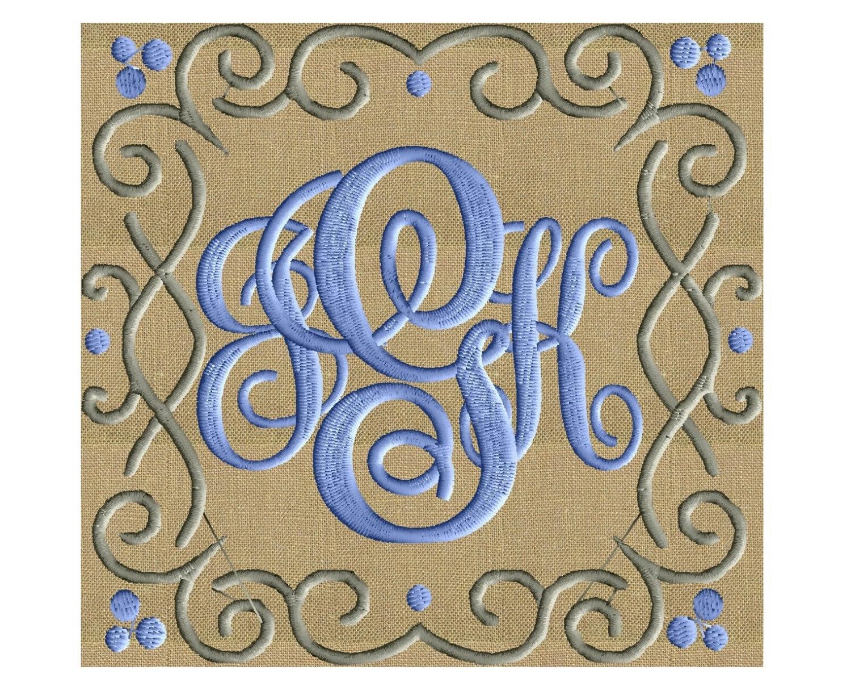 Squiggle square font frame monogram design not included