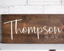 Last Name Sign | Family Name Wood Sign | Custom Wedding Gift | Wedding Establish Sign | Family Established Sign | Housewarming Gift