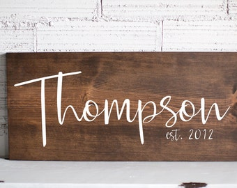 Last Name Wood Sign | Family Name Wood Sign | Custom Wedding Gift | Wedding Establish Sign | Family Established Sign | Housewarming Gift