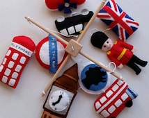 Baby cot mobile, London Baby cot/ crib mobile, baby mobile, nursery decoration, cute mobile, bedroom decor