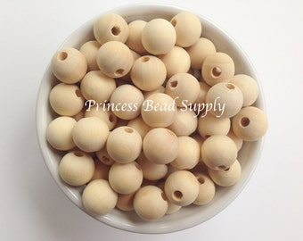 15mm Natural Wood Round Teething Beads,  Natural Unfinished Wood Teething Beads,  Natural Wooden Beads