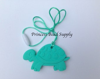 Light Turquoise Turtle Silicone Teether,  Turtle Teether,  100% Food Grade Silicone Teether,  Sensory Silicone Teether, Silicone Beads