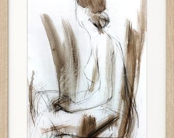 Woman print, Giclee print, Charcoal drawing, Woman sketch, Fine art print, Figurative Modern Artwork, Graphic art print, Wall decor print