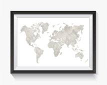 White Marble, Gray Marble, Marble, Marble Decor, World Map, World Map Print, Travel Decor, Travel Print, Study Room, Printable Map