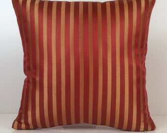 Red Pillow, Throw Pillow Cover, Decorative Pillow Cover, Cushion Cover, Accent Pillow, Gold Striped Pillow, Satin Blend Pillow, Home Decor