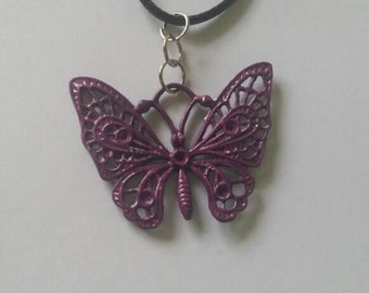 Purple butterfly, butterfly pendant, butterfly necklace, leather necklace
