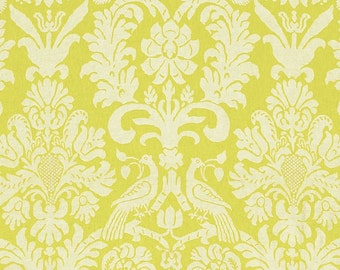 SCHUMACHER ITALIAN BIRDS Lotus Damask Linen Toile Fabric 10 Yards Acid Green