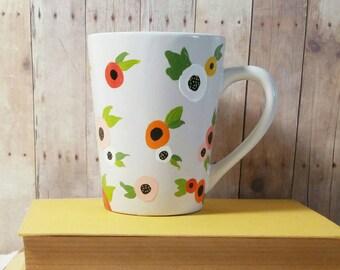 Floral Mug, Hand Painted Coffee Mug, Flower Mug, Whimsical Mug, Colorful Mug, Custom Coffee Mug, Painted Mug, Gift for Her