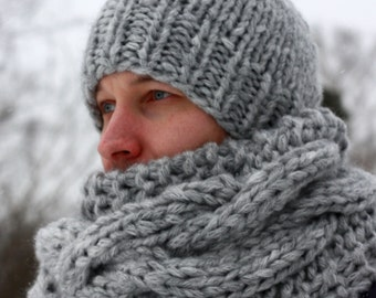 Chunky Scarf and Hat / Men's knitted cowl and hat / Infinity Scarf and Hat / Neck Warmer / Beanie Hat / Thick Yarn Scarf