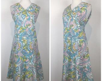 Vintage 60s dress / 1960s dress / mini dress / floral dress / party dress / drop waist dress / cotton dress / mod dress / M1298