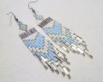 Baby Blue Seed Beaded Earrings - Light Pearl Blue- Light Blue, White and Silver Native American Style Seed Bead Earrings, Casual Earrings
