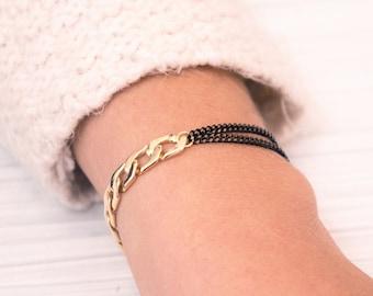 Gold and black bracelet, unique jewelry, elegant bracelet, gift for her