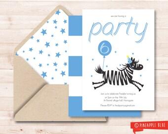 Printable party invitation | Boys invitation | Birthday invitation | Customized part invite | Zebra kids invite | Kids party invitation