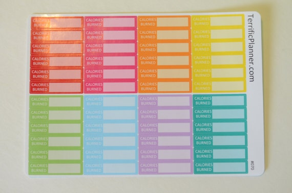 Calories Burned Fitness Stickers 48 Multi Colors For
