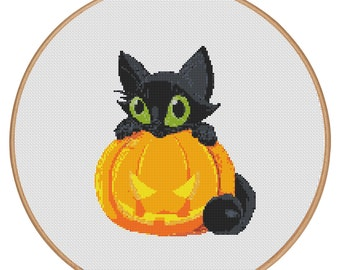 MORE for FREE - Halloween - Cat - Holidays - Counted Cross stitch pattern PDF-Instant Download-Cross Stitch Pattern -Needlepoint - #1001
