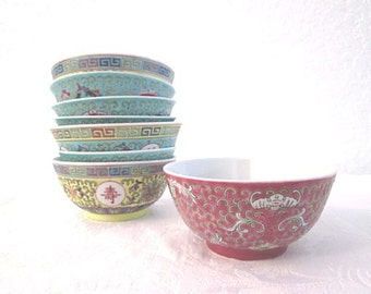 Chinese Multicolor Rice Bowls, S/8