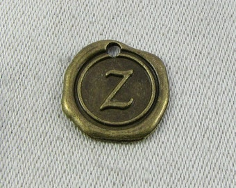 """Bronze Wax Medallion Letter """"Z"""" Charms 1 or 5 letters per package  ALF014z-BZ"""