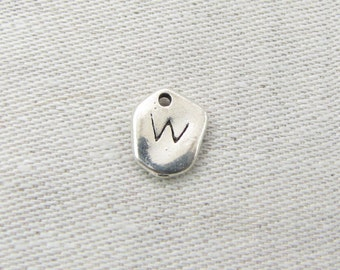 "Silver Irregular-Shape Letter ""W"" Charm 1 or 5 letters per package  ALF001w"