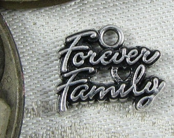 "Set of (4) Silver ""Forever Family"" Charms, 4 per package  FAM022"