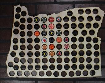 Oregon Beer Cap Map Home Bar Display