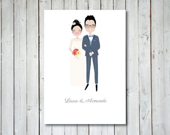 Illustrated bride and groom portrait, perfect anniversary gift!