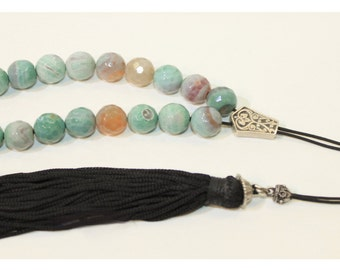 Carved Light Blue & Pink Agate worry Beads / Greek Komboloi with Tassel