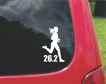 Set (2 Pieces) 26.2  Marathon Run Girl Runner  Sticker Decals 20 Colors To Choose From.  U.S.A Free Shipping