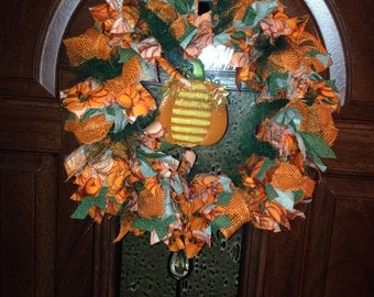 SALE! Handmade Fall Pumpkin Rag Wreath