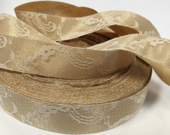 7/8 inch Ivory Lace over Beige Satin - Vintage Look - Stunning -  Ribbon for Hair Bow