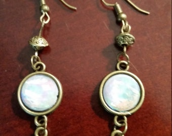 White Pearl Peace Dangle Earrings