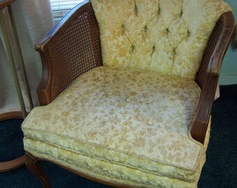 Vintage Barrel Style Chair With Cane Sides Queen Anne Legs Button Tufted Gold Velvet