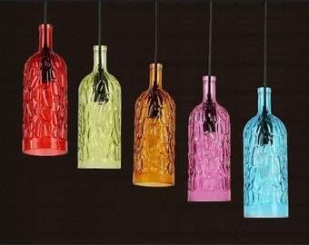 wine bottle pendant lamp--hanging lamp--industrial lamp--PL066