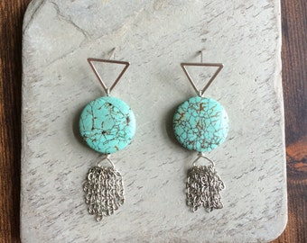 Genuine Turquoise Geometric Fringe Earrings