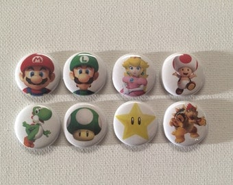 Super Mario Brothers pin back buttons