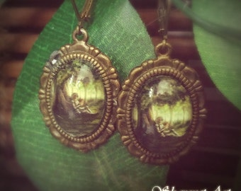 Knight Earings - Fantasy jewelry, Fantasy Earings, Magical Earings, Earings, Knight Jewelry, Glass Earings, Vintage Earings, Gift for Her
