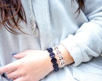 Two peace bracelets in stone, peace bracelet, peace sign bracelet, hippie bracelet, boho bracelet- stretch bracelet