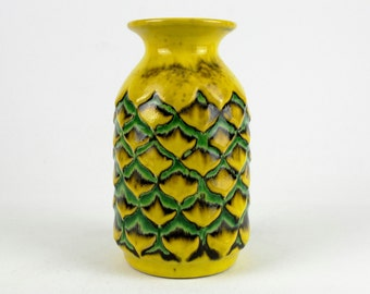 Yellow Mid Century Ceramic Vase by Jasba, West German Pottery 70s, Vintage, Modernist