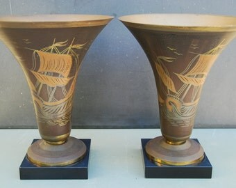Pair of Art Deco hand painted vases signed A.Ducubu