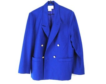 Vintage Cobalt Blue Blazer, 100% Pure Wool, 80s Jacket | 80s Blazer | double breasted wool jacket | brass buttons | notched lapel | medium