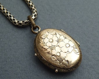 Sterling Silver & Gold chain and locket c.1850